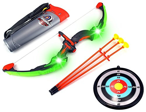 CHIMAERA Light-Up Super Toy Archery Target Playset with Bow, Arrow, Target and Cross-Body Quiver Holder (Green Gray)