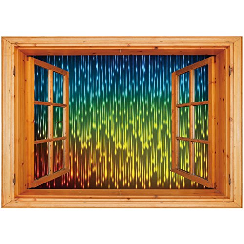 - 3D Depth Illusion Vinyl Wall Decal Sticker [ Farmhouse Decor,Galaxy Universe Outer Space Inspired Technical Neon Rain Modern Artful Print,Multi ] Window Frame Style Home Decor Art Removable Wall Stick