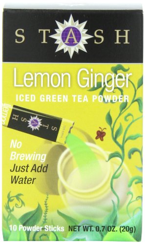 Stash Powdered Green Iced Tea, Lemon Ginger, 10 Count, 0.7 oz (Free Sugar Tea Lemon Iced)