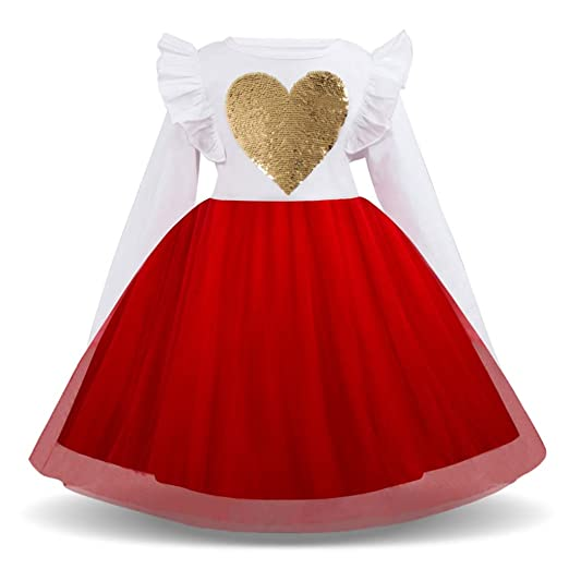 514662f2b8e0 Amazon.com: Baby and Toddler Girls Dresses Child Kids Tutu Skirt Long  Sleeve Heart Print Princess Clothes: Clothing