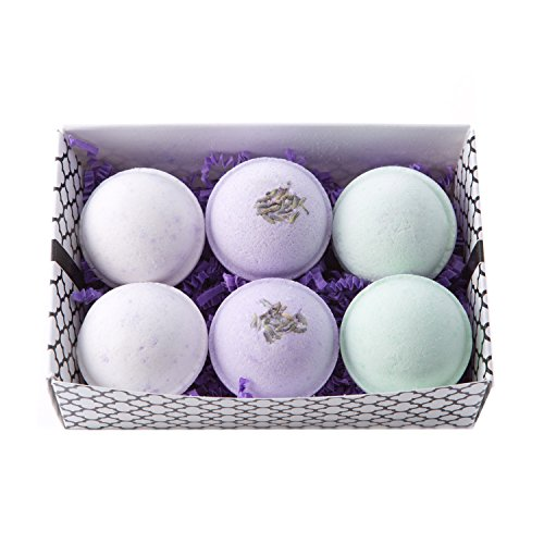 Bath Bomb Gift Set w/ Lavender, Coconut Milk & Lavender and Lavender Chamomile Scented Fizzies Bath Balls | Set of 6, Handmade in USA From Tatum & Shea (Lavender) (Bath Set Lavender)