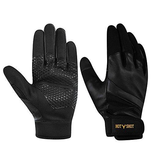 Hot Shot Mens Tracer Leather Shooting Gloves, Black, Large