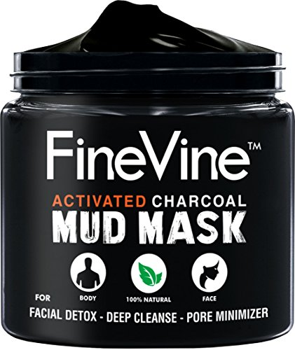 Activated Charcoal Mud Mask - Made in USA - For Deep Cleansing & Exfoliation, Pore Minimizer & Reduces Wrinkles, Acne Scars, Blackhead Remover & Anti Cellulite Treatment, Face Mask & ()