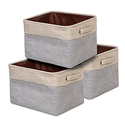 ANNSY Storage Basket Collapsible Organizer Bin 3-pack Foldable Fabric Grey/ Brown Storage Cube Bin with handles for Home and Office - Multi-purpose Organization: Suitable for using in bathroom, laundry area, kids' room, shelves, closet, bookcase, desk, truck, car etc. while keeping items tidy and organized Heavy Duty: Long-lasting rugged jute and cotton blend material, reinforced handles with metal eyelets ensuring durability for storage box Foldable for easy storage: Collapsible to save on space when not in use and fold flat for easy storage - living-room-decor, living-room, baskets-storage - 51FbHaP2pNL. SS400  -