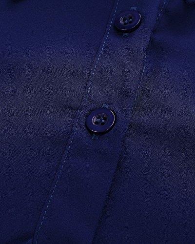 Casual Blusa Mujeres Largas Zanzea Elegante Mangas Azul Chiffón Camiseta Polsillo Escote V xzqqAYRd