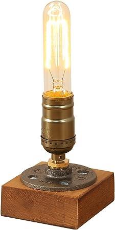 Loft Vintage Industrial Desk Lamp Base E27 Edison Led Desk Table Lights Bedside Antique Wood Desk Accent Lamps Nightstand for Cafe Bar Bedroom Living