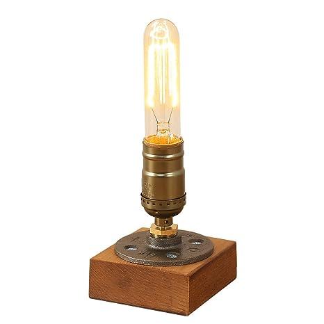 INJUICY Vendimia E27 Edison Madera Lámpara de Escritorio Antiguo Metal Lámpara de Mesa de Luz del
