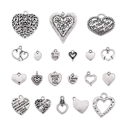 Kissitty About 60pcs/100g Antique Silver Random Mixed Alloy Love Heart Pendants Collection 10~35mm Tibetan Style Metal Heart Charms for DIY Craft Jewelry Making from Kissitty