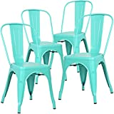 Eat in Kitchen Table Poly and Bark Tolix Style Bistro A Dining Side Chair (Set of 4), Aqua
