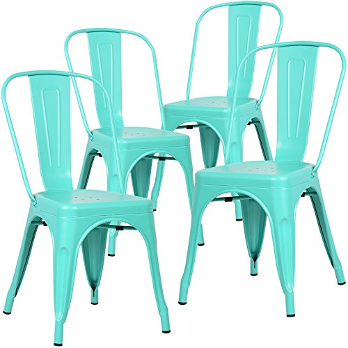Poly And Bark Tolix Style Bistro A Dining Side Chair  Set Of 4   Aqua