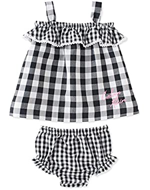 Baby Girls 2 Piece Top & Diaper Cover Set Black/White Gingham