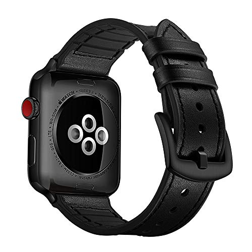 OUHENG Compatible with Apple Watch Band 42mm 44mm, Sweatproof Genuine Leather and Rubber Hybrid Band Strap Compatible with iWatch Series 4 44mm Series 3 Series 2 Series 1 42mm Sport Edition, Black