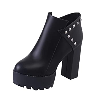 Logobeing Botines Mujer Tacon Cremallera Súper Tacón Cuadrado Grueso Altas Remaches Botas Zapatos de Punta Redonda Zapatos de Plataforma (Negro, ...