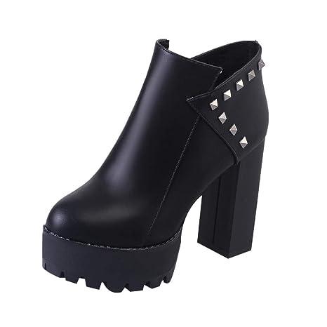 ❤ Botas Cortas de Invierno Mujer tacón Alto, Mujeres Zipper Super High Heel Square Grueso Remaches Botas Zapatos de Punta Redonda Absolute: Amazon.es: ...