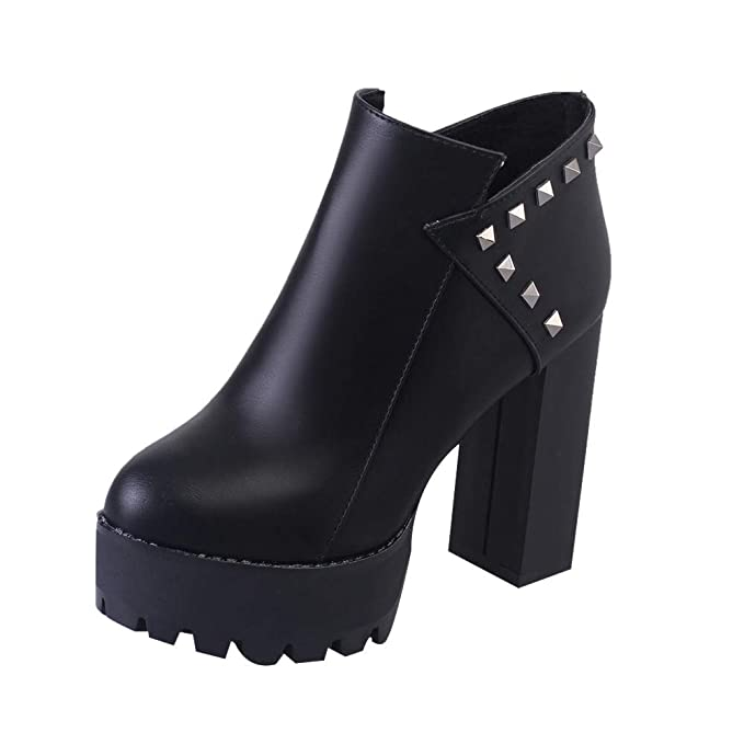 Amazon.com: Ninasill Combat Boots Women Zipper High Heel Thick Christmas Rivets Boots Round Toe Shoes: Clothing