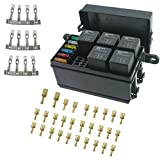 Iztor Universal 6 Way Blade Fuse Holder Box With Spade Terminals and fuse,5PCS 4Pin 12V 40A relays for car truck trailer and boat