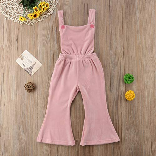 16510b0d228 Amazon.com  Qiylii Toddler Kids Baby Girls Velvet Backless Romper Jumpsuit  Flare Pants Overall Outfits Pink  Clothing