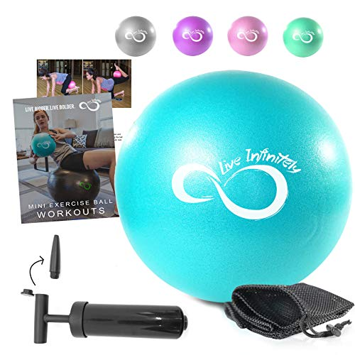 Live Infinitely 9 Inch Barre Pilates Ball & Hand Pump– Anti Burst Mini Ball & Digital Workout eBook Included for Yoga…
