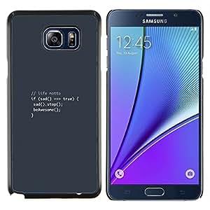 "Be-Star Único Patrón Plástico Duro Fundas Cover Cubre Hard Case Cover Para Samsung Galaxy Note5 / N920 ( Código Lema Life - Codificación Hacker divertido"" )"