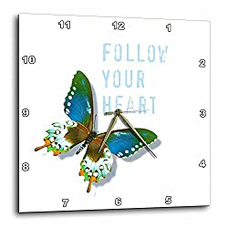 3dRose dpp_31416_1 Follow Your Heart Blue and Brown Butterfly Art Inspiration-Wall Clock, 10 by 10-Inch