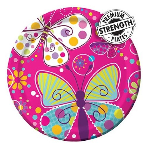 8-Count Round Paper Dinner Plates, Butterfly Sparkle -