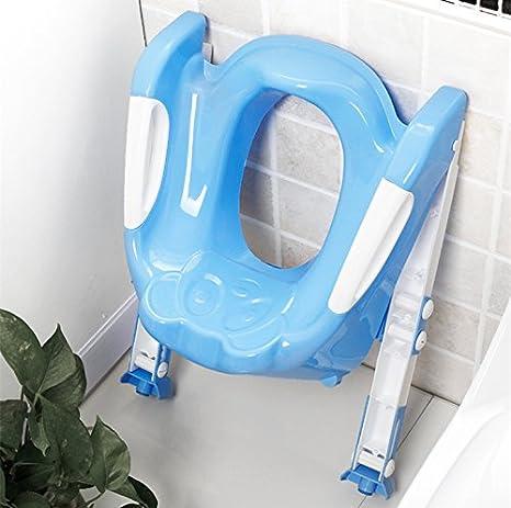 1 LAAT Asiento de beb/é port/átil para ni/ños con escalera Asiento de inodoro de ni/ños Asiento de asiento plegable Asiento de silla para ni/ños y ni/ñas rojo