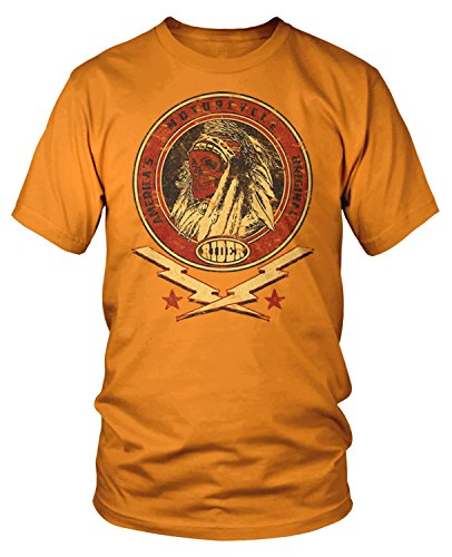Amdesco Men's America's Original Motorcycle Indian Skull T-Shirt, Orange Large