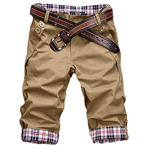 HEMOON Herren Bermudas Shorts Vintag Kurze Hose Kariert 1/2 Khaki W36