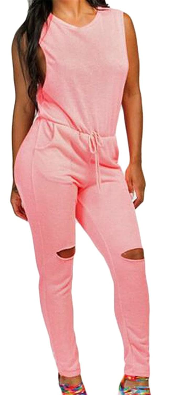 Cromoncent Womens Casual Zip Sleeveless Holes Drawstring Long Jumpsuits Pink US-XL for sale