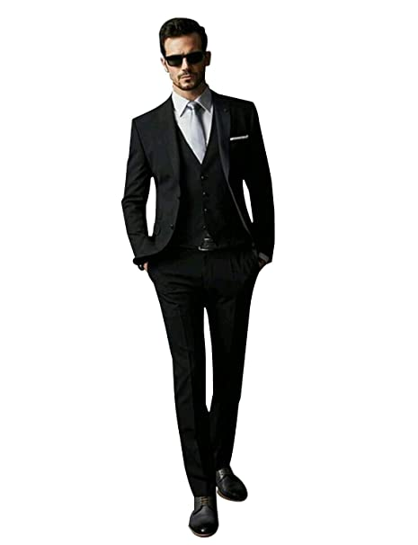 CALVINSUIT Hombre Slim Fit 3 Piezas Traje Negro Chaqueta Tux ...