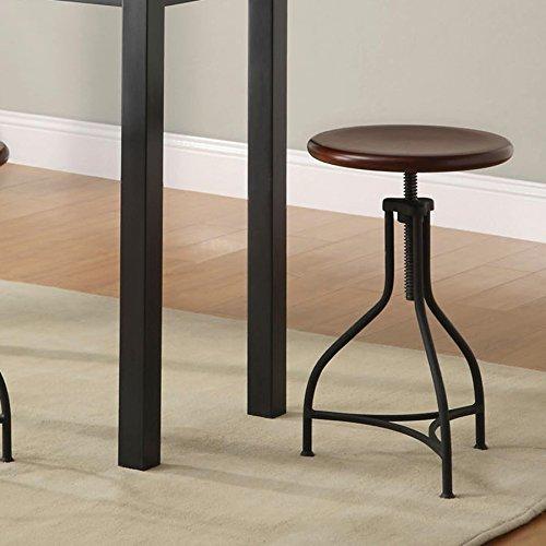 Wood/Metal Adjustable Pavina Barstool - Hand Forged Iron Bar Stool