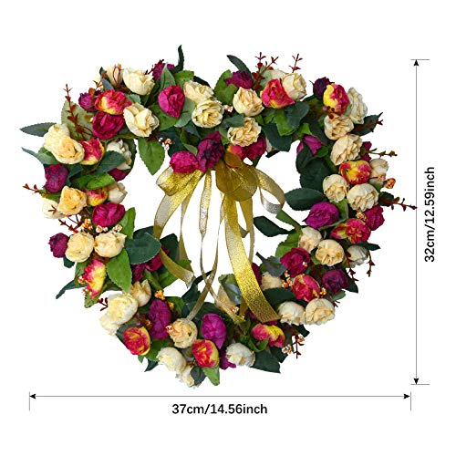 Coxeer Rose Flowers Wreath, Heart Shape Hanging Wreath Art Garland for Home Wedding Anniversary Decoration (Wine)