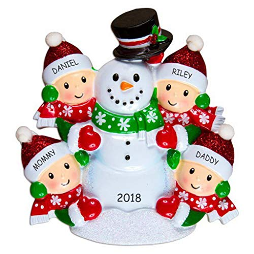 DIBSIES Personalization Station Personalized Snowman Fun Family Christmas Ornament (Family of ()