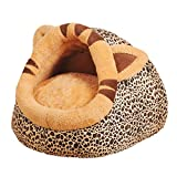 Dog Bed Small Lounge House Kennel Sleeping Bag Slipper Shape Pet Bed, Leopard, S