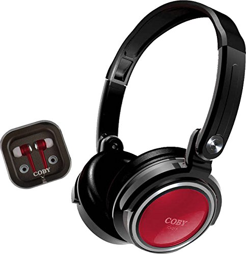 Coby CVH-800-RED 2-In-1 Jammerz Xtra Headphones and Earbuds with Case, Red ()