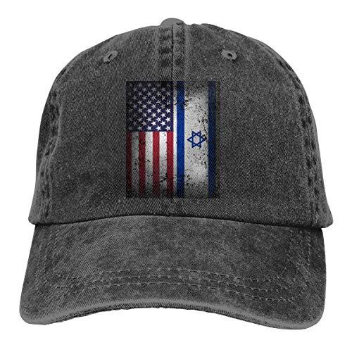 WYFQ501 American Israeli Flag Men's Women's Adjustable Jeans Baseball Hat | Denim Jeanet Trucker Hat (Cap Army Israeli)