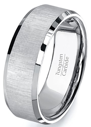 Mens Wedding Bands 8mm Tungsten Ring Satin Finish Beveled Edges Center Comfort Fit (9.5)