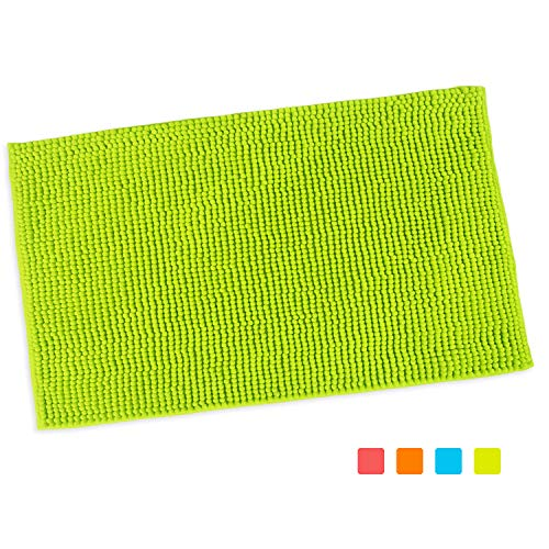 "Purpleclay 100% Chenille Bath Mat Non Slip Machine Washable for Bathroom Kitchen Pet Living and Play Room in Vibrant Color (Large 20""x31.5"", Lime Green)"