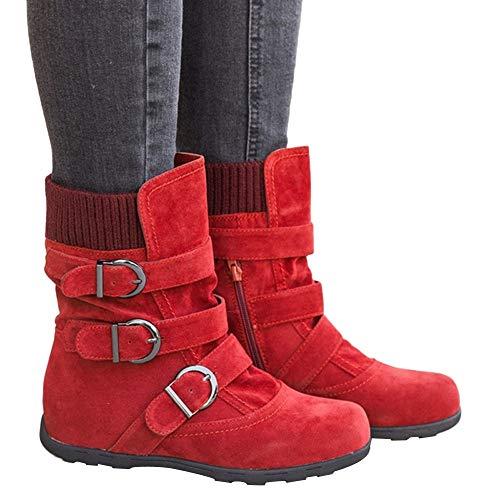 Métal Dame Ronde Robemon♚hiver Femme Tête Compensées Chaussures En Automne Plat Rouge Suede Boucle Bottes Chic pXwq48xw