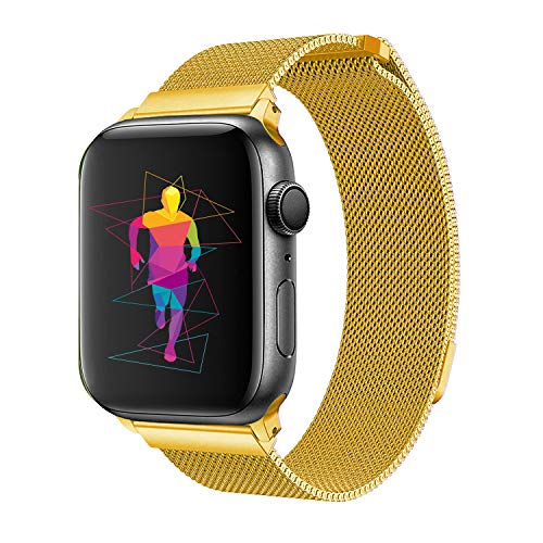 Mesh Buckle Gold (INTENY Band Compatible with Apple Watch 38mm 40mm, Milanese Sport Loop, Stainless Steel Mesh Strap, Compatible with iWatch Series 4, Series 3, Series 2, Series 1 (38MM 40MM, Rose Gold))