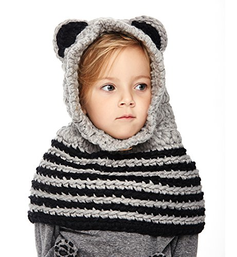 Sumolux Winter Kids Warm Fox Animal Hats Knitted Coif Hood Scarf Beanies for Autumn Winter (Crochet Hat Pattern For 8 Year Old)