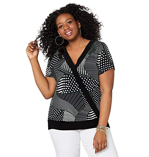 (Avenue Women's Wavy Dot Surplice Top, 26/28 Black White)