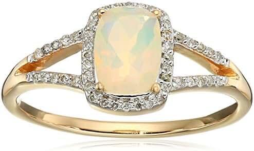 0.49 Carat Genuine Ethiopian Opal & White Diamond 14K Yellow Gold Ring