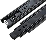 "UHPPOTE Black Mute Soft Close Ball Bearing Drawer Slide Runners 3 Section Glide Device (12"" / Pack of 1 pair)"