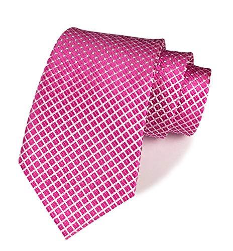 Men's Rose Red Ties Handmade Spot Pin dots & Plaid 3