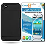 CoverON® Apple Iphone 4 4S Hybrid Dual Layer with Credit Card Holder Slot Case Cover Bundle with Clear Anti-Glare 3 Pack LCD Screen Protector - Black Hard Black Soft Silicone