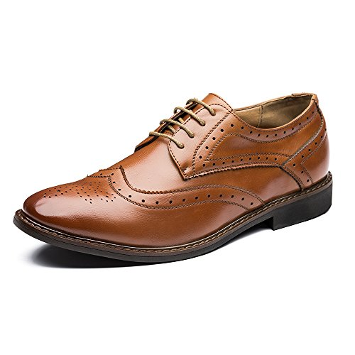 e Oxford Wingtip Dress Shoes Lace Up BROWN US10.5 (Brown Footwear)