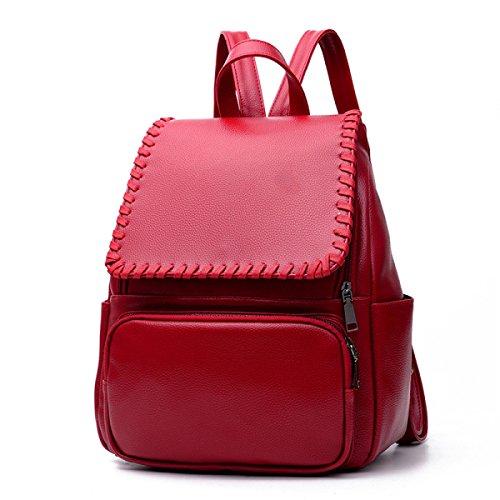 HAOXIAOZI - Bolso estilo cartera de azul para mujer Vino Rojo