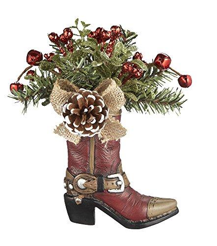 - G Ganz Christmas Mistletoe Cowboy Boot Ornament 7 inches (Pine Cone)