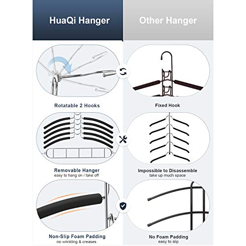 HuaQi Clothing Hangers Anti Slip Padded Hangers Closet Organizer Space Saving Magic Clothes Hangers Heavy Duty for Coat Suits Shirt Sweaters (2, Black)